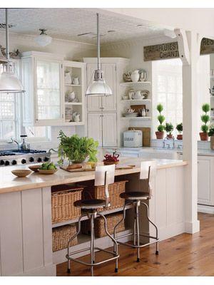 Bright white and marble: Interior, House Ideas, Dream, Corner Cabinets, Cottage Kitchens, Kitchen Ideas, Open Shelving, White Kitchens