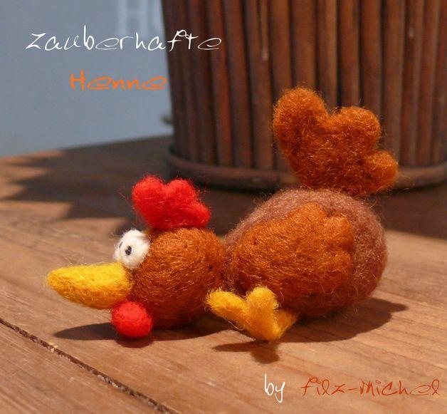 Monster & Tiere - Zauberhafte Henne, handgefilzt - ein Designerstück von Filz-Michel bei DaWanda