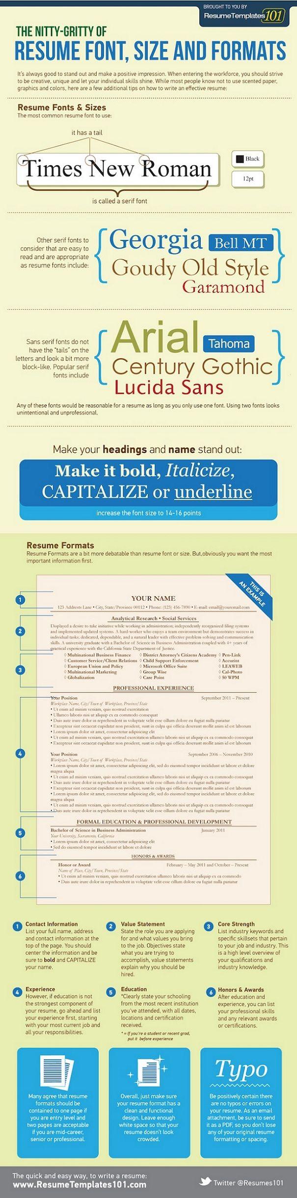 2015'in en iyi infografikleri! ResumeTemplates101.com tarafından hazırlanan ve özgeçmiş formatı ile ilgili bilgiler veren bu infografik, oldukça özenle hazırlanan bir CV gibi… #infografik #iş #resume #özgeçmiş #business #font #formak #infographic #tips