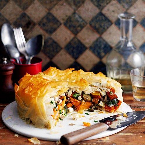 Roasted veg and halloumi pie