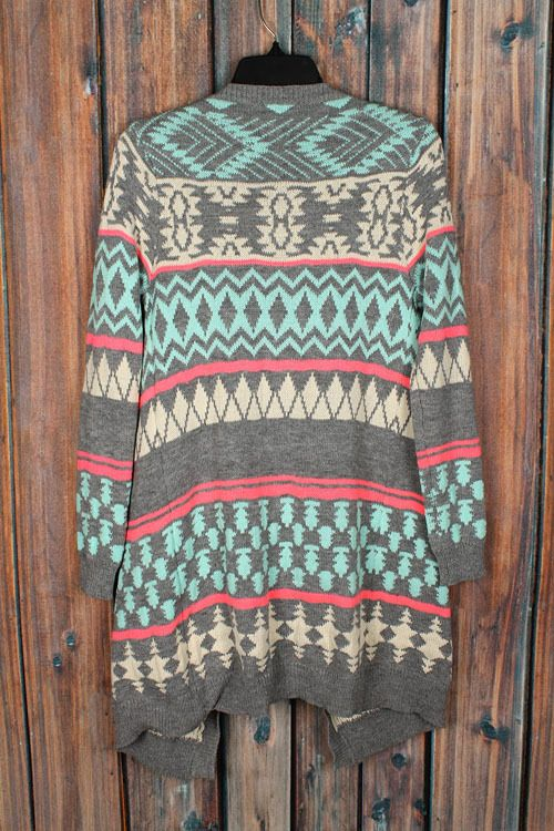 Gray Mint Aztec Tribal Cardigan Sweater