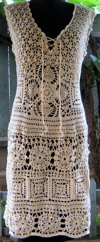 Sale Handmade lace crochet dress- replica fashion style, made to order ,summer dress, cream cotton,. $750.00, via Etsy.