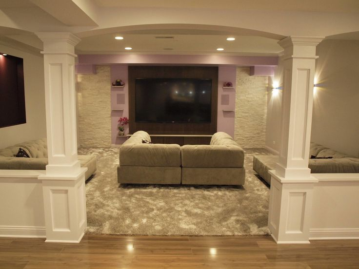 Basement columns ideas basement finishing and basemen remodeling ideas basement pinterest - Finished basement ideas pictures ...