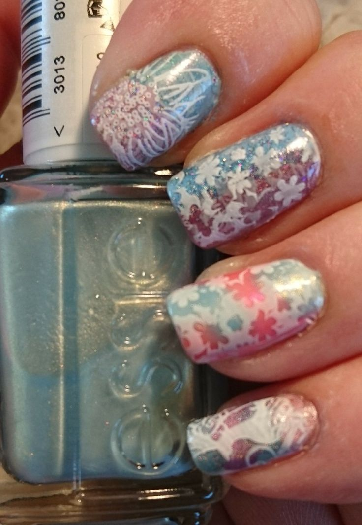 Nail art test from top to bottom  Different dimension return from saturn and rosette nebula  Girly bits scandilous and what happens in vegas ends up on Facebook  Essie Barbados blue and sizzling hot  Jade eclipse and nfu-oh 63