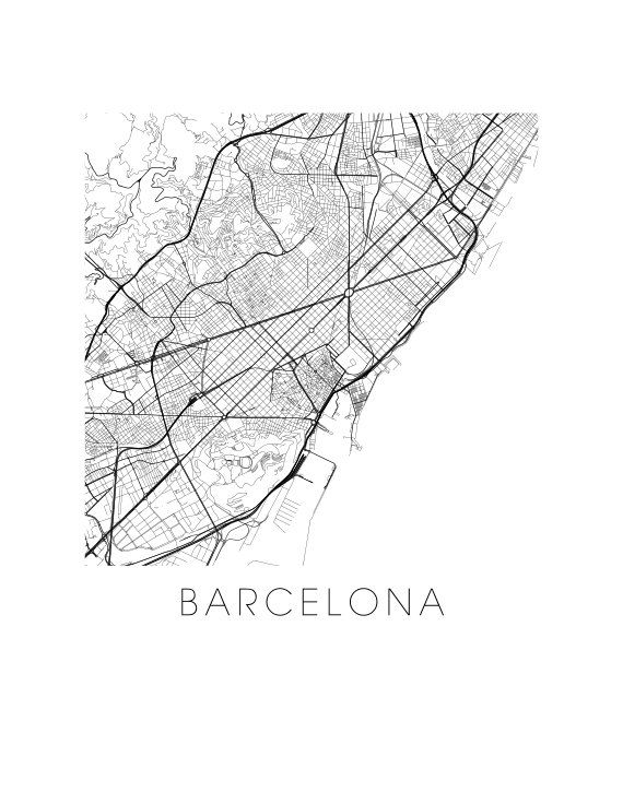 Impression de carte de Barcelone par iLikeMaps sur Etsy