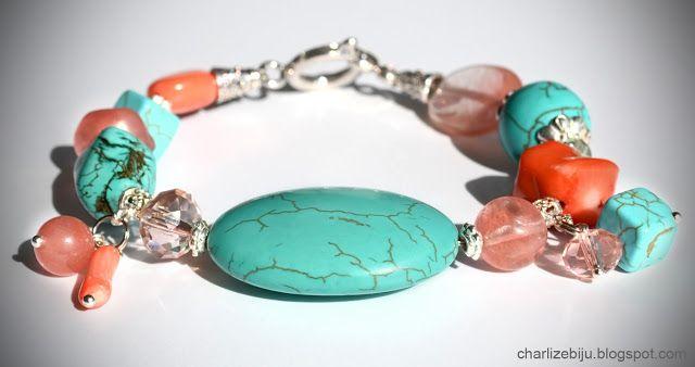 Украшения из натуральных камней: браслеты Яркий бирюзово-коралловый браслет в индийском стиле из бирюзы, арбузного турмалина и персиковых кораллов.