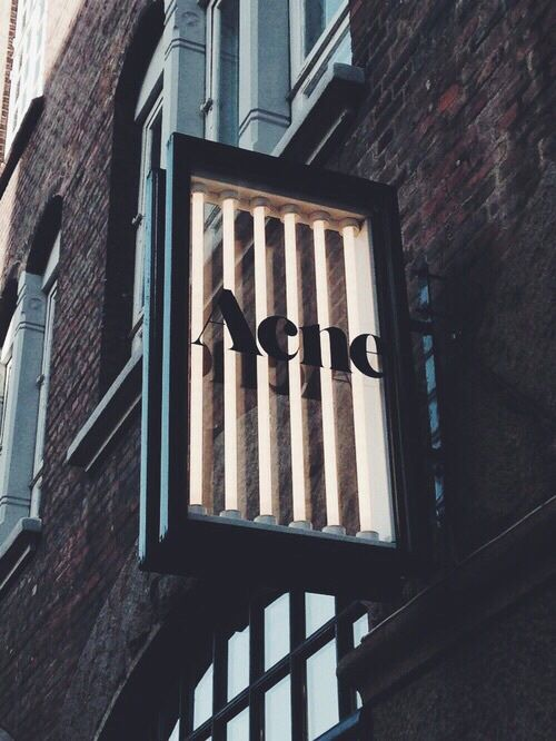 Acne Signage: Layered Illuminated Glass Box With Black Frame. Keeps It  Within The Acne Brand, As It Is Still Within The Sleek Design Of The Brand.