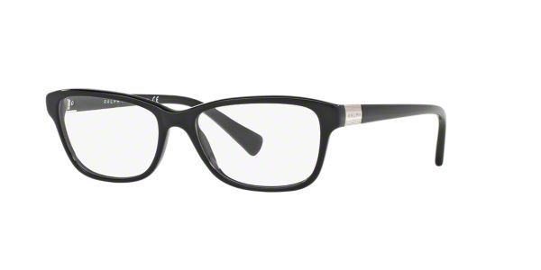 RALPH puts a fresh, young spin on classic Ralph Lauren style with pops of vibrant color and trendy details. These women's designer eyeglasses in black lend a modern femininity to the pillow shape. Crafted from cellulose acetate, a natural plastic derived from cotton, these frames are flexible yet strong as well as hypoallergenic for those with sensitive skin. Flex hinges resist bending and give a comfy, adjustable fit. An etched Ralph logo plaque in silver caps smooth, slim temples.
