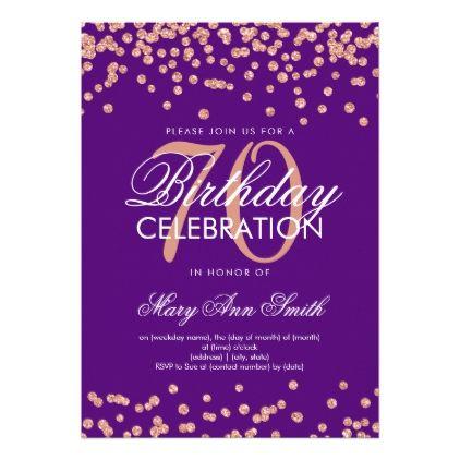 Rose Gold Purple 70th Birthday Glitter Confetti Card