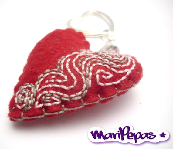 Red felt heart keyholder with embroidery by MariPepas on Etsy, $15.00