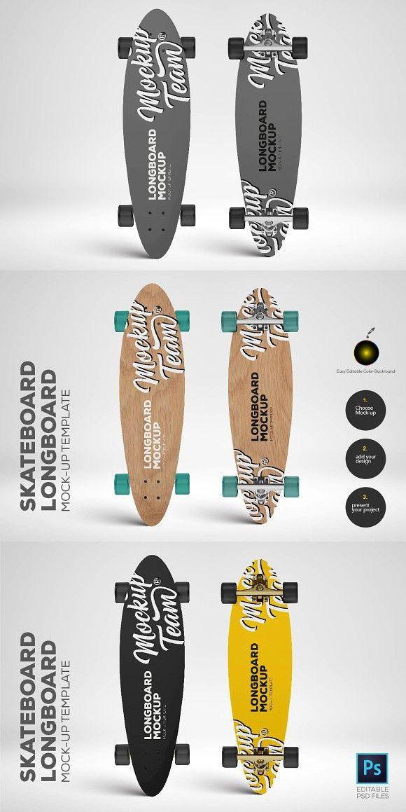 skateboard longboard mockup temp leisure design pinterest