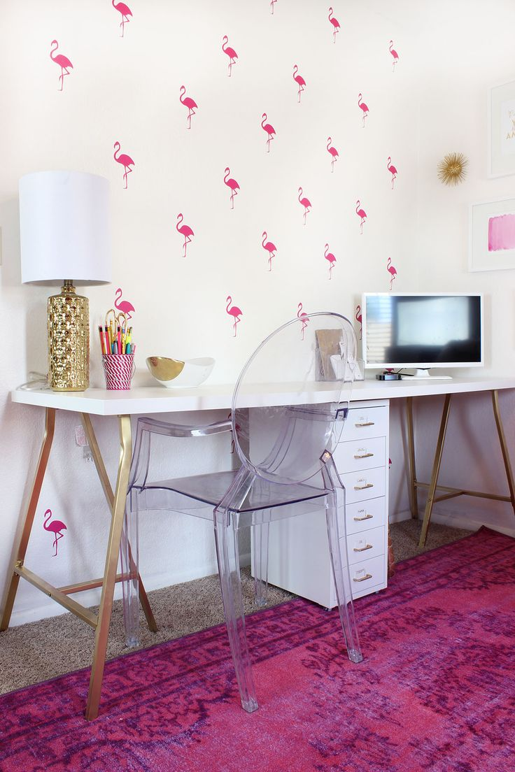 Lovely Malloryu0027s Girly Office Makeover