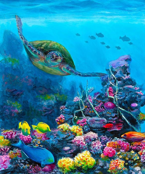 """Secret Sanctuary"" painting by Karen Whitworth - This painting was inspired by my first snorkeling experience. My husband and I could not believe the amount of life and explosive color that existed below the waves off the Maui coast. What beauty! To top it all off we were joined by this gentle Green Sea Turtle. His movements were so graceful. He glided effortlessly through the crystal clear water and didn't seem to mind us as company. Definitely something I will never forget."