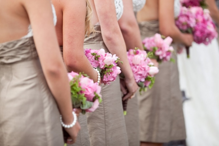pink bridal bouquets with taupe dresses