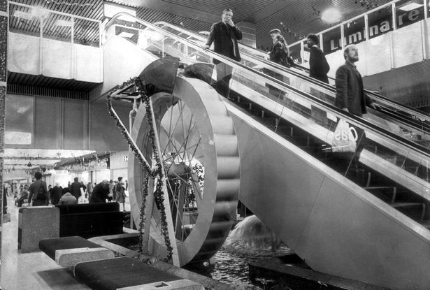 A picture of the interior of the Broadmarsh from 1970's
