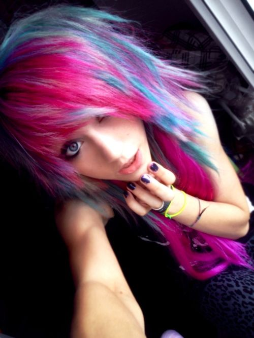 Awesome multicolored emo hair.