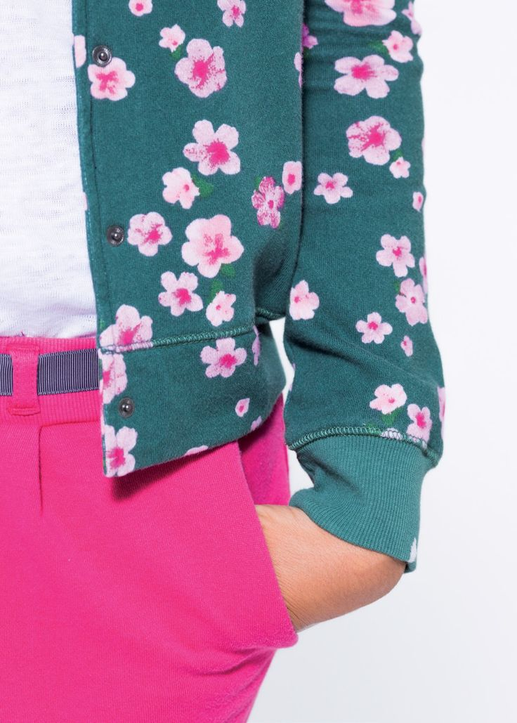 A college sweater with floral pattern and pink shorts.  SUN68 Woman SS15 #SUN68 #SS15 #woman #sweater #shorts