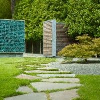 pathway with broken cement: Gardens Ideas, Recycled Glasses, Amazing Pools, Gardens Houses, Glasses Wall, Pools Houses, Minimalist Gardens, Gardens Design, Houses Interiors Design