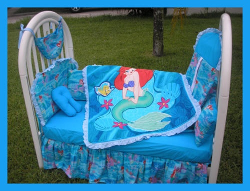 NEW baby crib bedding set made w  LITTLE MERMAID fabric. 17 Best images about Little Mermaid   Monkey design for the baby