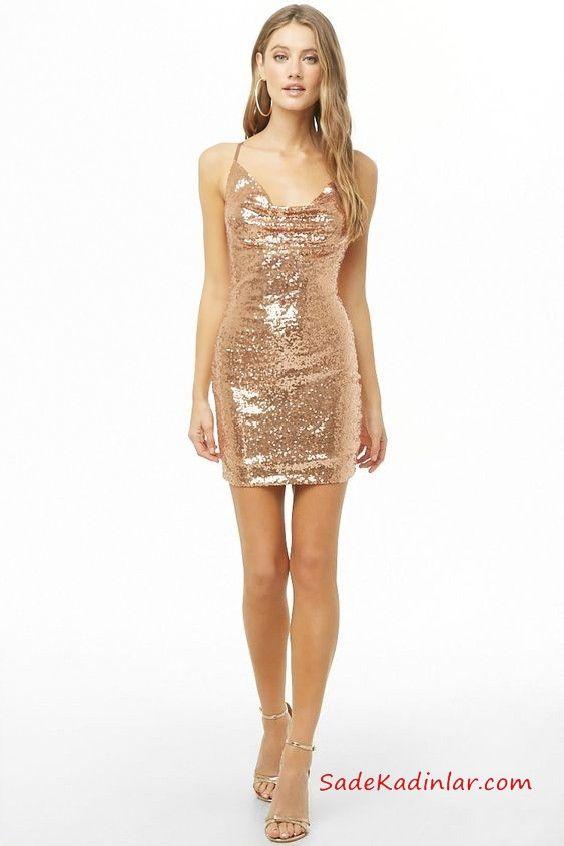b3cea1fe075b0 Yılbaşı İçin Gece Kıyafetleri Gold Kısa İp Askılı Degaje Yaka Payetli Kısa  Abiye Elbise #moda #fashion #fashionblogger #promdresses #evening  #eveningdresses ...