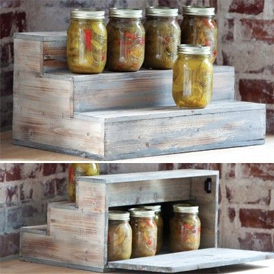 This would be so cute for food photography! ~ Mason Jar Display and Storage Stair-Step Platform
