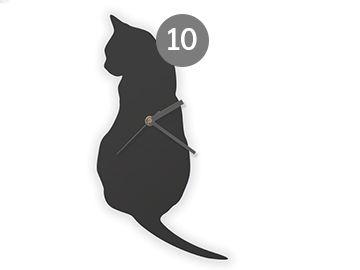 Reloj para la pared en forma de gato #decoración #deco #diseño #hechoamano #handmade #hogar #casa #DaWanda #reloj #relojes #gato