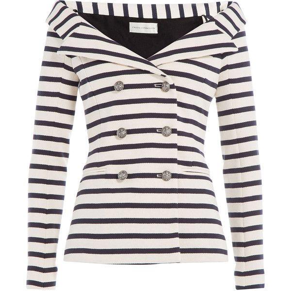 Faith Connexion Striped Blazer (€855) ❤ liked on Polyvore featuring outerwear, jackets, blazers, casaco, coats, tops, stripes, button jacket, white jacket y white slim blazer