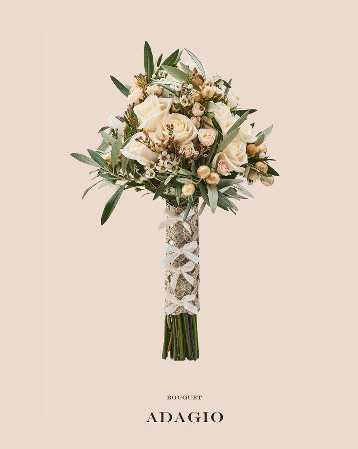 www.gracebridalindustries.com Elegante #bouquet de #flores #silvestres para una #novia de esencia mediterránea. Los grandes protagonistas de este ramo de novia son el #Olivo y las aceitunas bañadas en pan de #oro. Una auténtica joya en forma de #ramodenovia.