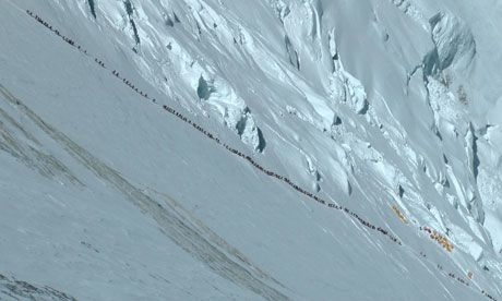 "This image of a ""traffic jam"" of tourists on Mount Everest exemplifies how the summit has gone from being considered as a near-impossible journey for the experienced few to a popular adventure destination (though the dangers of the ascent are ever-present)."