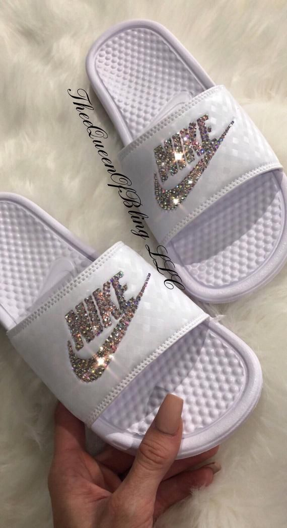 Womens nike benassi slides   Etsy   Slides shoes nike ...