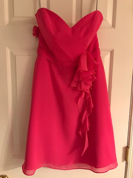 ALFRED ANGELO BRIDESMAID DRESS STRAPLESS PARTY PROM CHIFFON FUCHSIA PINK 6 NWT #pink #bridesbaid #dress #dresses #wedding #reception #chiffon #hotpink #fun #Party #elegant #soldout #forsale #ebay