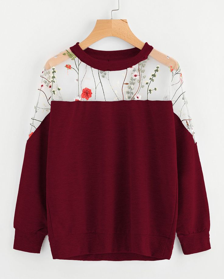 Shop Embroidery Mesh Paneled Sweatshirt online. SheIn offers Embroidery Mesh Paneled Sweatshirt & more to fit your fashionable needs.
