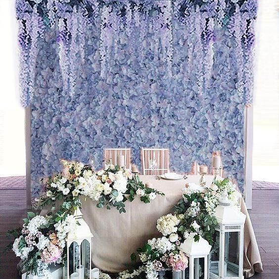 4 PCS Serenity Blue Silk Hydrangea Flower Mat Wall Backdrop Photography Panel Photo Booth Wedding Event Decor | efavormart