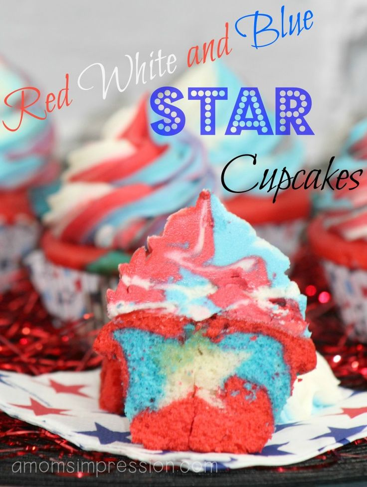 Red, White and Blue Cupcakes perfect for your 4th of July dessert party!