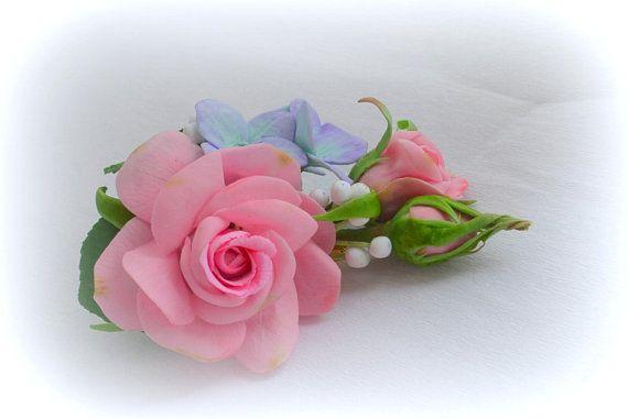 Brooch boutonniere flowers rose hydrangea Bridegroom mother of the groom buttonhole corsage dress Wedding flower headpiece real flower groom
