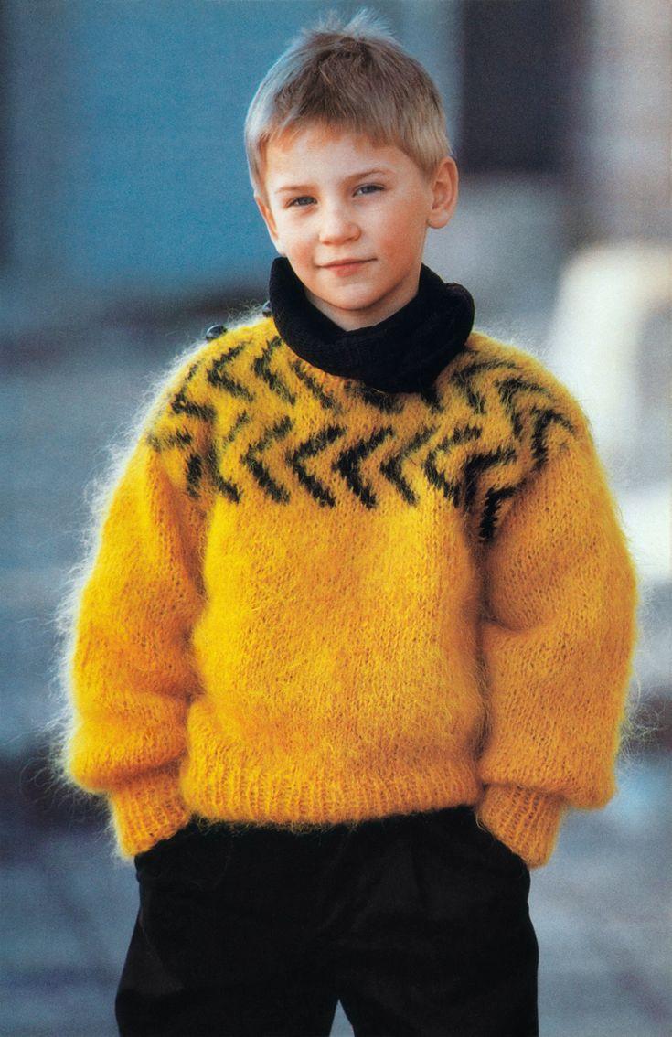 boys kids mohair sweater, photo from strikke lett magazine, knitting pattern fuzzy fluffy childrens