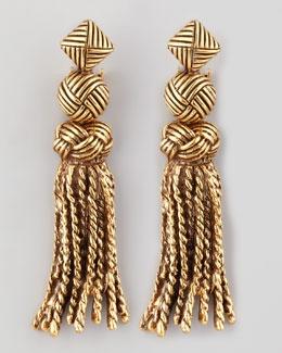 Y14AV Oscar de la Renta Tassel-Knot Earrings