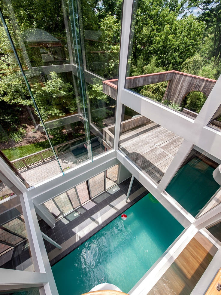 This 35-foot indoor pool runs the length of the home's ground floor.