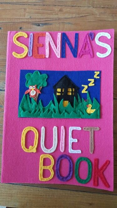 Quiet book title page for Sienna