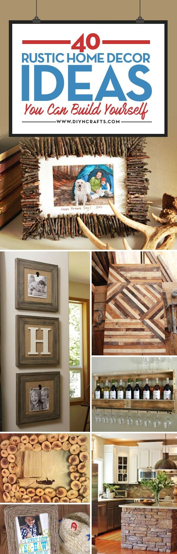 For a beautifully decorated home! we have collected a list of 40 of the best DIY projects to give your home that rustic look. You can find everything from headboards and picture frames to cabinets and shelves made from wooden pallets. Whatever your dream for a rustic look, you are sure to find something in this collection that will help you along.  via @vanessacrafting