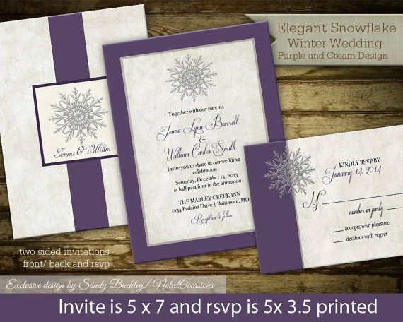 Snowflake Winter Wedding Invitations | Choose Any Color for Your Wedding | Printable Wedding Invitation and RSVP Card for Winter Weddings on Etsy, $55.00