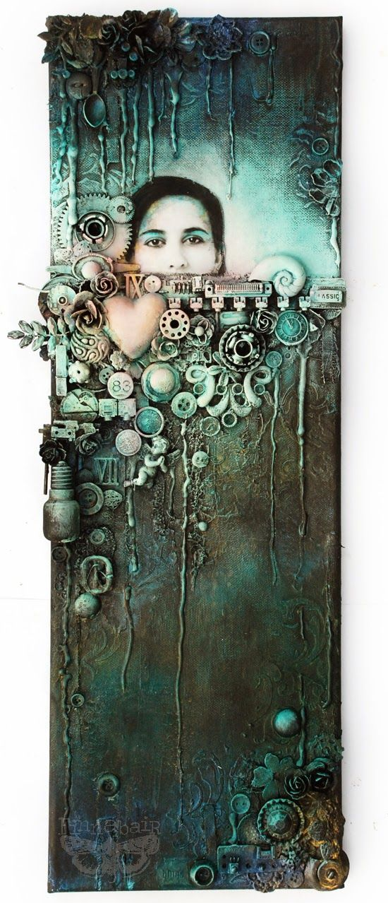 People say if you jump into deep water you have to learn to swim.  Collage on canvas - 20x60 cm (8x24'')....
