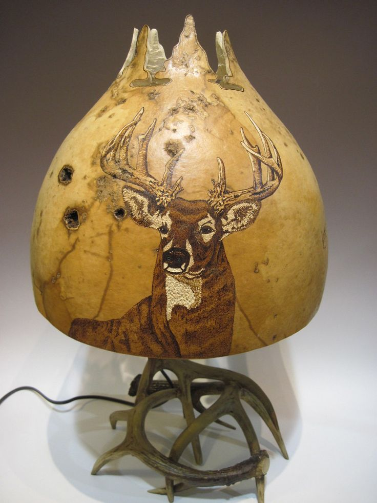 Carved and woodburned buck on gourd lampshade and by LampsbyJoanna, $275.00