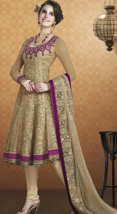 $92.72 Brown Net Embroidery Anarkali Salwar Kameez 24391