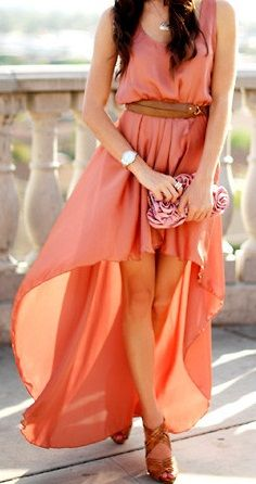 Love this color!: Coral Dress, Maxi Dresses, Summer Dresses, High Low Dresses, Flowy Dresses, Highlow, Color, The Dresses, Hi Low Dresses
