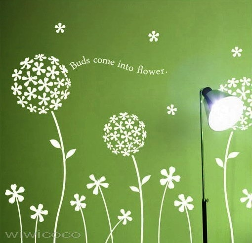 dandelion blooming--64inches wide--Removable Wall Art Home Decors Murals Vinyl Decals Sticker