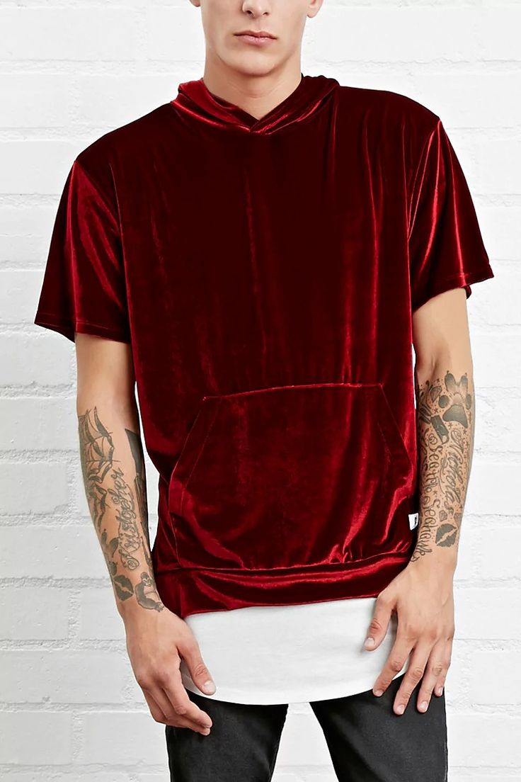 A velour tee by EPTM.™ featuring a hood, front kangaroo pocket, and short sleeves. #forever21men