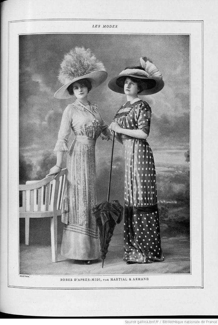 Les modes (Paris), July 1910. Robes d'apres-midi par Martial et Armand