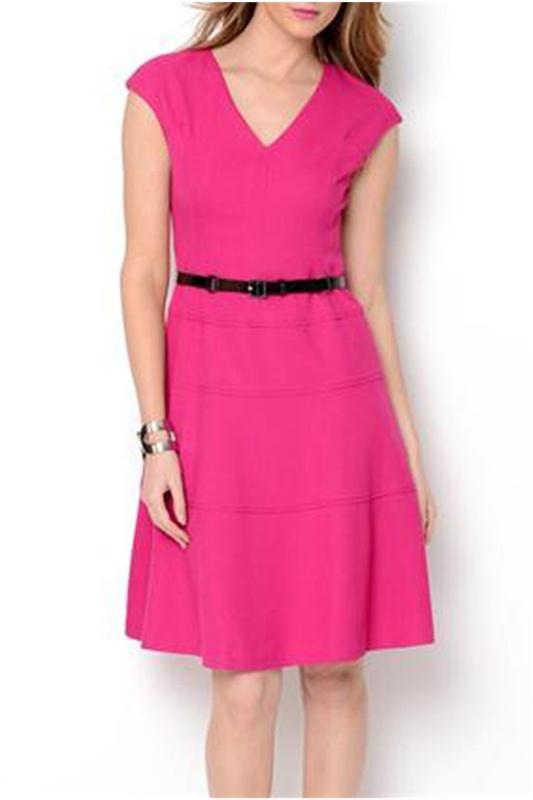 Anne Klein V-Neck Belted A-Line Dress - Enviius