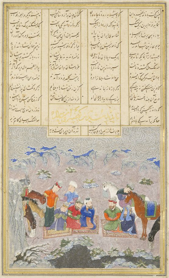 The paladins in the snow Ferdowsi, Shahnameh Timurid: Herat, c.1444 Patron: Mohammad Juki b. Shah Rokh Opaque watercolour, ink and gold on paper London, Royal Asiatic Society, Persian MS 239, fol. 243r